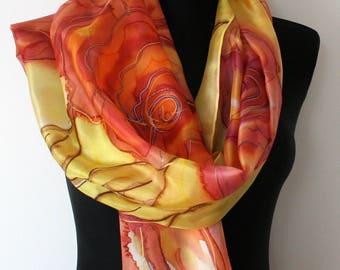 Hand Painted Silk Scarf. Roses Silk Scarf. Orange, Yellow, Red Roses scarf. Flowers silk scarf.  Made in Estonia. 100% silk.