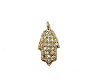 10% Sale Gemshow Petite Hamsa Hand Charm -- Gold Plated Hamsa Hand Pendant with Rhinestone Pave ...