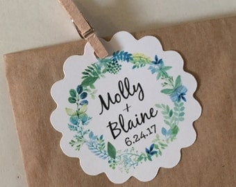 Greenery Wedding Favor Tags Scalloped Circle 2 inch White Tag Gifts for Guests Flowers Seeds Plant 60 tags