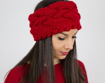 Gift for her/ Valentines day/ Knit chunky headband Winter accessories cable knit head wrap red fall braided ear warmer