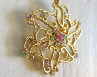 Gold and pastels vintage brooch