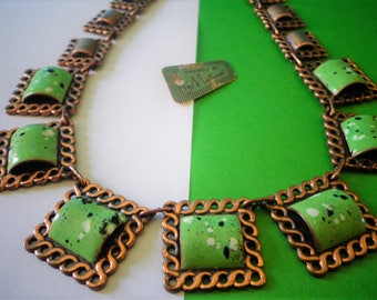 very rare MATISSE Copper NECKLACE Beautiful green Spattered Enamel Vintage Jewelry Geometric SQUARe Art deco style Renoir