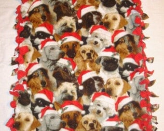 SALE Fleece Tie Pet Blanket for Small Dogs or Cats - Christmas Holiday Dogs in Santa Hats