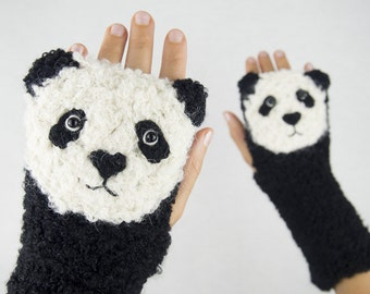 Panda Fingerless Gloves ~ Handmade
