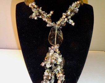 Valentine's day sale:One of a kind artisanal statement necklace, smokey quartz, free shipping