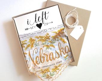 Vintage Nebraska Handkerchief. Something Old for the Bride. I left my heart in Nebraska. Nebraska wedding.