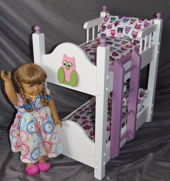 Doll bunkbed fits American girl doll and 18 inch dolls with happy baby owl bedding, Handmade