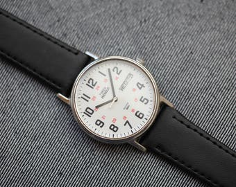 Vintage Timex Day date with indiglo light brand new black leather strap 24 hour dial