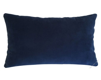Navy Blue Velvet Suede Decorative Throw Pillow Cover / Pillow Case / Cushion Cover / 12x18""