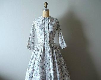 1950s rose print dress . vintage 50s floral dress