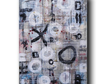 "Art Painting Canvas painting ORIGINAL  ABSTRACT  PAINTING on canvas  ""The Symbols"" 36''x24'' Acrylic on Canvas"
