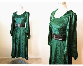 Velvet Hooded Dress | Zelda Hoodie | Dark Green Elf Dress | Elf Costume | Legend of Zelda Dress | Link Inspired Hoodie Dress | Velvet Dress