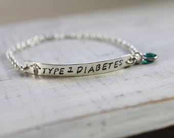 Medical Bracelet- Sterling Silver- Medical ID Bracelet- Personalized Bracelet- Hand Stamped Bracelet