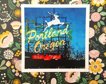 Portland Made in Oregon Stumptown Square Archival Watercolor Gouache Print AP011A