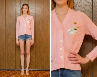 Vintage 60s 70s Up cycled Horny Unicorn Baby Pink Holographic Pastel Shiny Star Gold Button Up Sweater Acrylic Kawaii Cardigan S M