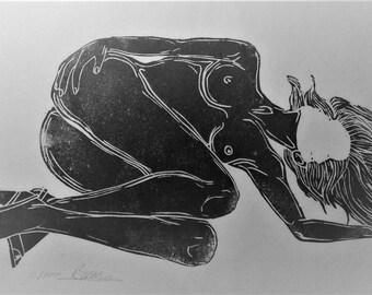 """inspiration erotique vintage linogravure imprimé à l'encre à l'huile  sur papier de riz"""" Margueritte """""""
