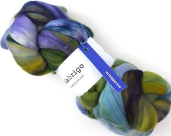 Malabrigo Spinning Fiber, pure merino, hand dyed in color Indiecita, #416, blues, greens, purples