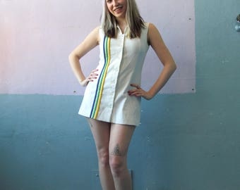 Vtg 70s Billie Jean King Tennis Dress / Athletic County Club / Sports Mini