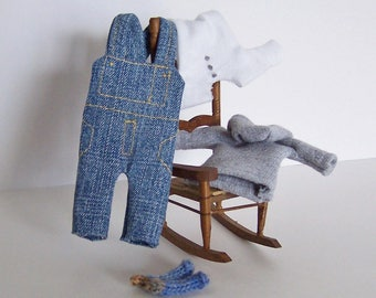 Miniature Dollhouse Clothes Farmhouse Style, 1:12 Scale Lot of 4 Items, Doll House Miniature Accessories Featuring Denim Overalls