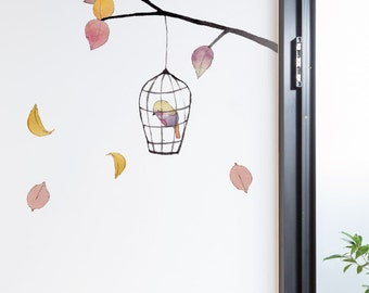 Bird Cage and Tree Removable Wall Sticker | LSB0267CLR-JMS