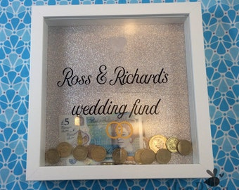 Personalised wedding money box, wedding fund box, personalized wedding savings, money box, wedding fund frame, best engagement gift LGBTQ <3