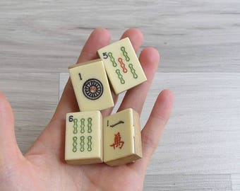 10-25% OFF Code In Shop - Vintage Upcycled Mahjong Tile Wooden Brooch Pin