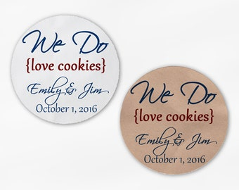 We Do Love Cookies Personalized Wedding Favor Stickers - Red & Navy Custom White Or Kraft Round Labels for Candy Buffet Bags Envelope (2019)