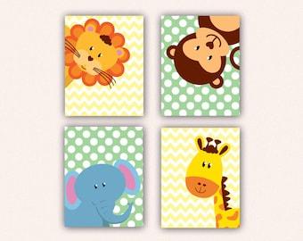 Jungle Animal Nursery Print Set - Elephant Monkey Giraffe Lion Kids Bedroom Art, Chevron and Polka Dot Safari Decor in Yellow & Green (5008)