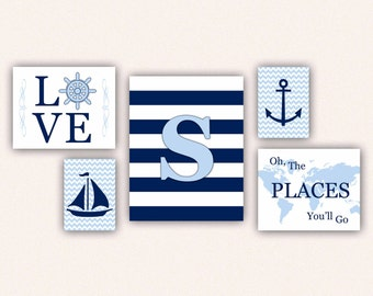 Nautical Nursery Print Set - Navy & Light Blue Anchor, Sail Boat, Love, World Map, Oh the Places You'll Go on Chevrons, Stripes (5001)