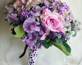 Purple flower and brooch bouquet. Roses, hydrangea, sweet peas and lavender.  Brooch Bouquet, Silk Flowers, Bling bouquet, Jeweled bouquet