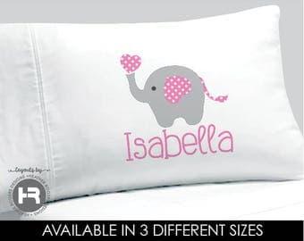 Elephant Pillowcase - Personalized Pillowcase - Personalized Elephant  Pillow case