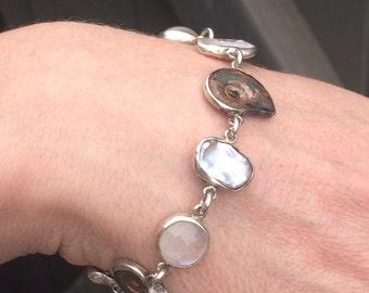 Ammonite, Rainbow Moonstone and Freshwater Pearl Bezel-set Bracelet