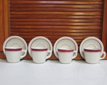 McNicol Diner China Coffee Cups and Syracuse Diner Saucers Set of 4 Red Stripe