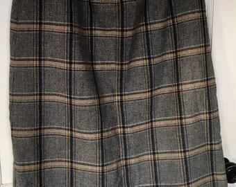 Vintage Pendleton Skirt Plaid Straight pockets