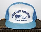 Vintage Onaga Kansas Meat Processing Mesh Snap Back Trucker Hat