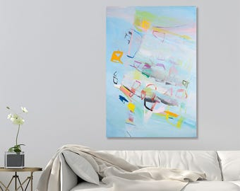 Light blue Abstract painting Original Acrylic Painting on Canvas Modern Geometric yellow pink by Duealberi | 28x40