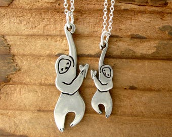 Mother Daughter Sloth Necklace  - Mother Daughter Sloth Set