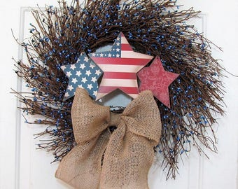 Patriotic Wreath - Memorial Day Wreath - Blue Berry Wreath - Country Farmhouse Home Decor - 4th of July Wreath - Spring Front Door Wreath