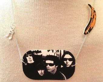 Silver Plated Handmade Velvet Underground Banana Necklace