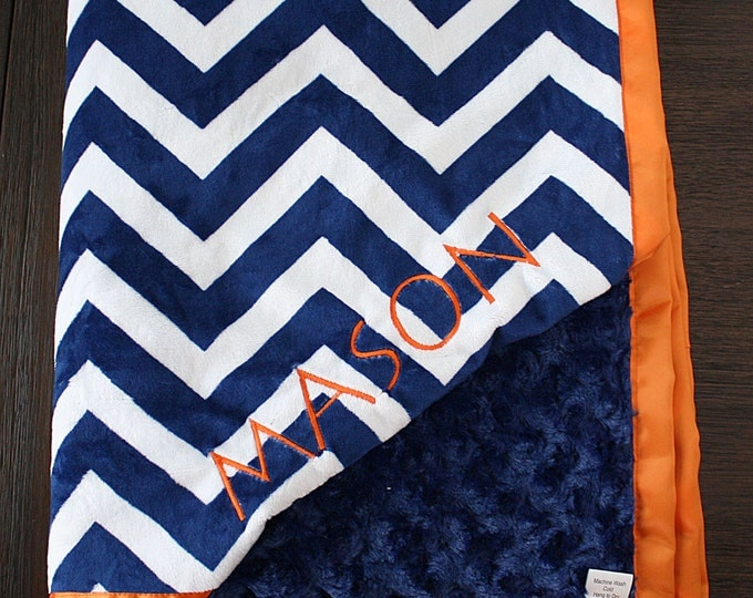 Minky Blanket, Personalized blanket, Embroidered Blanket, baby boy, baby girl, navy and orange, embossed chevron, blue and orange, baby gift