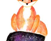 "Watercolor Galaxy / Galactic Print Fox Tail - OOAK original painting - 6"" x 8"""