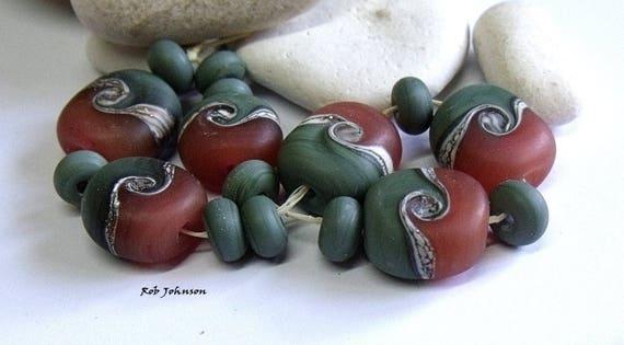 Red Dusk Artisan Lampwork Glass Beads Sra Uk From