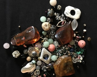 Mixed SILVER Gems Crystal Beads AMBER Silver Findings LOT Jewelry Making Costume Supply Uber Kuchi®