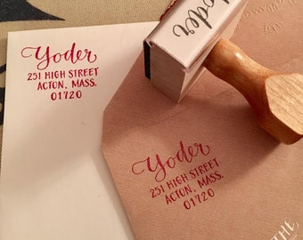 RETURN ADDRESS STAMP - Custom Handlettered Address Stamp with Last Name in Calligraphy