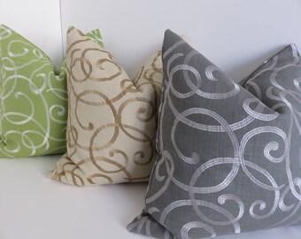 Green Gold / Dark Grey Silver/ Beige Gold Pillow Covers- Decorative Pillow Covers- Pillow Covers- Embroidered Pillow Covers-