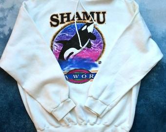 Vintage 90s SHAMU Sea World Hoodie Hooded Sweatshirt Made in USA