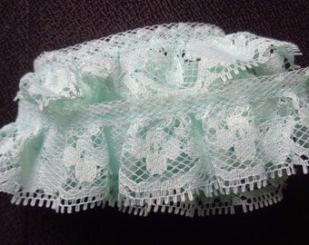 1.125 inch Single-Gathered Lace, mint green 1 yard and 25 inch cut