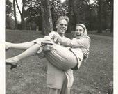 "Vintage Snapshot ""Swept Off Her Feet"" Handsome Man Pretty Girl Found Vernacular Photo"
