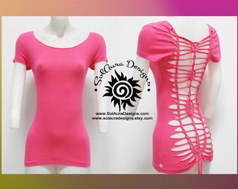 SENSUAL BEAUTY 2 - Juniors / Womens Cut and Weaved Beautiful Hot Pink Top - Yoga Wear, Festival Wear, Club Wear, Beach Wear