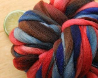 Picturesque - Handspun Wool Yarn Brown Red BlueThick and Thin Skein